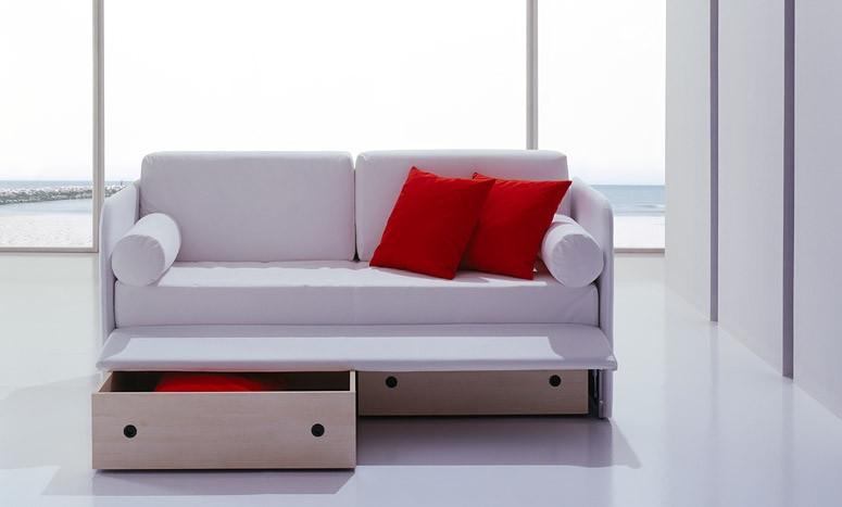Line by bolzan divano letto singolo con secondo letto o con contenitore cassetti salvaspazio e - Divano letto singolo con contenitore ...