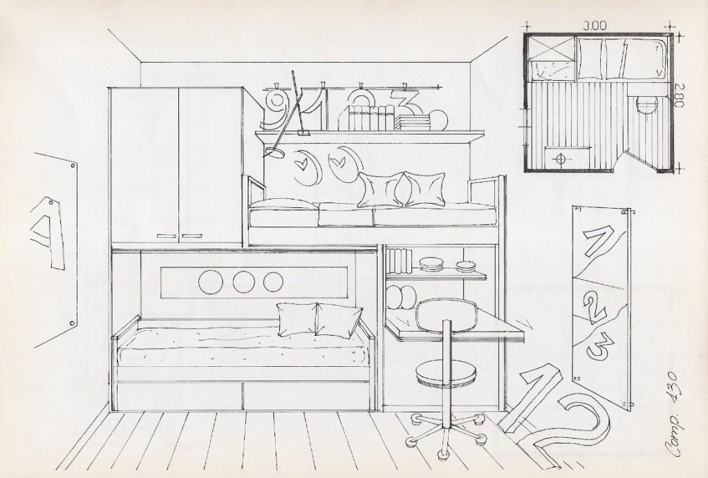 Stampa e colora la tua cameretta letto libreria - Disegni camera da letto ...