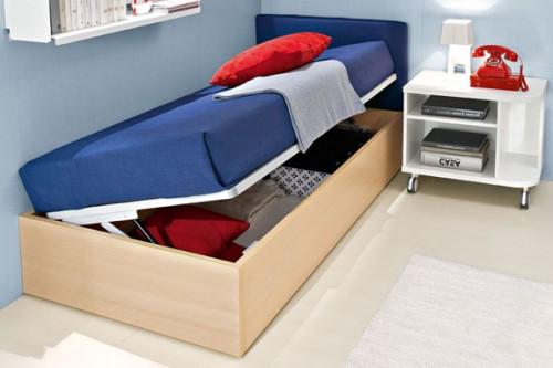 letto contenitore, letto salvaspazio, letto canguro, spazio sotto letto, letto apribile